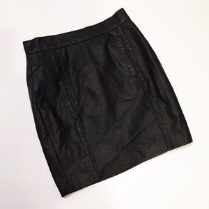 French Connection Black Leather Mini Skirt